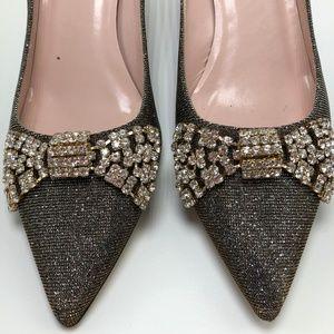 Kate Spade Black Embellished Kitten Heel